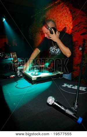 DJ spinning on stage