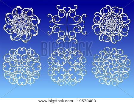 Beautiful white crystal snowflakes on blue background, fully editable, easy color change.vector illustration for christmas, holiday and winter designs.