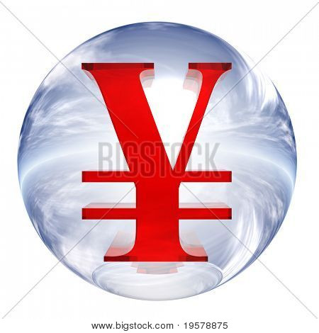 3d blue and white glass sphere isolated on white background,with red 3d symbol for web design buttons.yen sign.