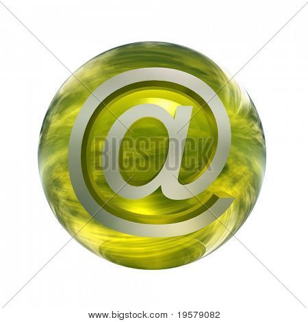 3d yellow glass sphere isolated on white background,with 3d grey metal at or mail symbol for web design buttons or signs.