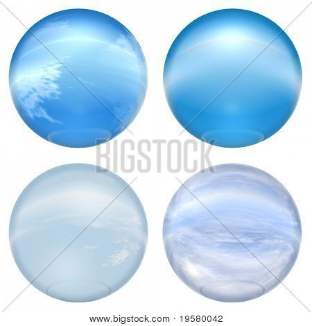 3d blue glass spheres collection isolated on white background,ideal for 3D symbols, signs or web buttons. It is a sphere reflecting a blue sky with clouds
