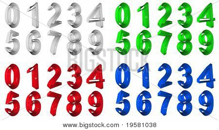 high resolution 3D red,gren,blue and grey  number symbols set or collection rendered at maximum quality ideal for web,business, or conceptual designs,isolated on white background.