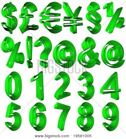 high resolution 3D green symbols rendered at maximum quality ideal for web,business, or conceptual designs