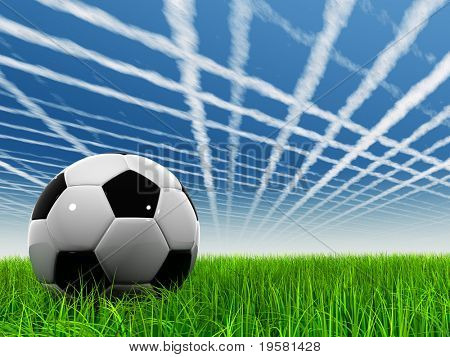 3d leather black and white soccer ball on green grass over a natural blue sky background with white clouds and plane traces or trails, ideal for sport and leisure designs