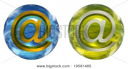 3d blue and yellow glass spheres set or collection isolated on white background,with an golden or yellow metal 3d at or mail symbol for web design buttons or signs.