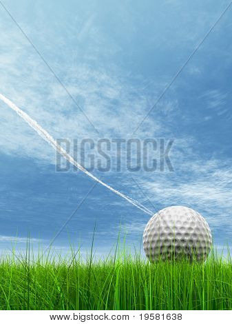 3d white golf ball in green grass on a blue sky with clouds and plane traces or trails background, for sport, recreation, or golf play designs