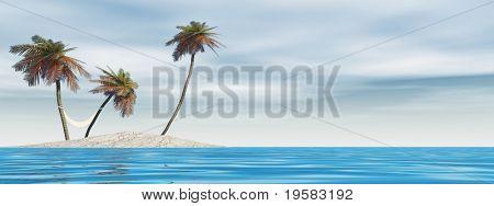 kleine isolierte Insel mit Palmen und einer Hängematte