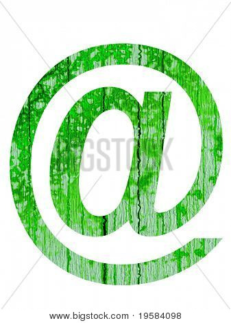 high resolution green at or mail symbol isolated on white background