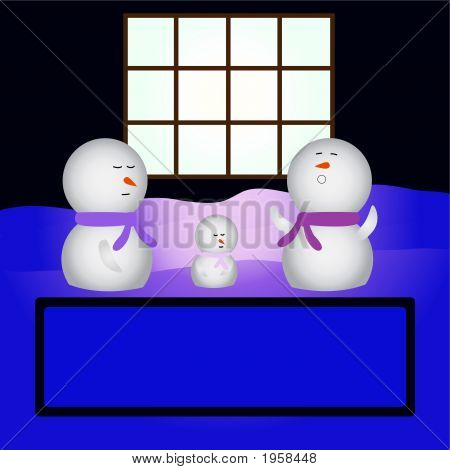 Family Snowmen Sleeping In Front Of A House