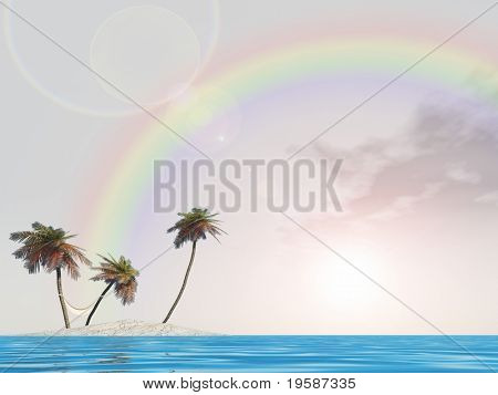 High resolution small isolated island with palm trees over a clear blue water and sky with a rainbow