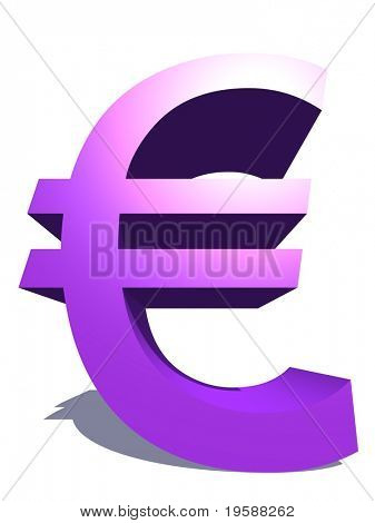 High resolution 3D purple or violet euro symbol rendered at maximum quality ideal for web,business, or conceptual designs,isolated on white background