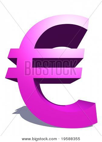 High resolution 3D pink euro symbol rendered at maximum quality ideal for web,business, or conceptual designs,isolated on white background