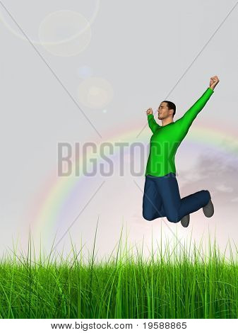 High resolution 3d human jumping happy in a green grass over a blue sky with clouds and a rainbow