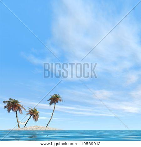 Hochauflösende konzeptionelle Insel mit Palmen und einer Hängematte im blauen Meerwasser mit einem blauen Himmel