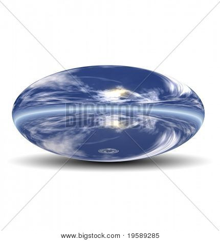 High resolution 3D blue silver ovoid isolated on white ideal as a web button