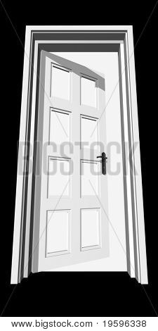 High resolution conceptual 3D opened door isolated on white