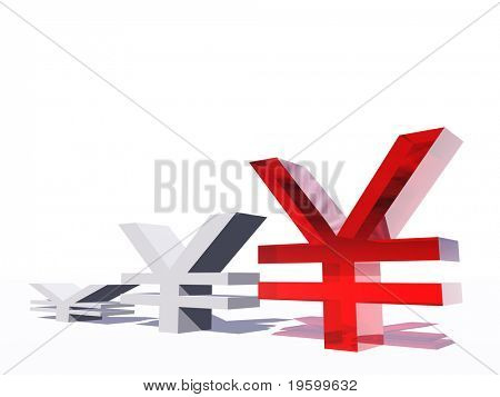 High resolution conceptual 3D graphic made of money symbols, ideal for business or money designs. Red yen symbols isolated on white background