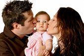 Mom And Dad Kissing Cute Baby Girl