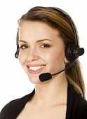 schöne Kunden Service-Operator Woman with Headset, isolated on white Background.