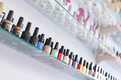 Colorful Manicure Nail Polish Bottle Collection Set On Shelf poster