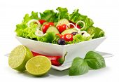 Vegetable Salad Bowl Isolated On White poster