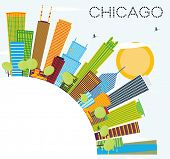 Chicago Skyline with Color Buildings and Copy Space. Business Travel and Tourism Concept with Modern poster