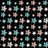 Постер, плакат: Pastel Star On Black Seamless Background Pink White And Blue Star