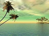 picture of tropical island  - Coconut palm trees on a small island  - JPG