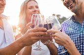 Group of mature friends raising a toast with glasses of red wine outdoor during sunset. Close up han poster