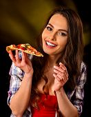 Woman eating slice of Italian pizza. Student consume fast food. Healthy eating and diet concept on b poster