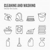 Cleaning, Wash Line Icons. Washing Machine, Sponge, Mop, Iron, Vacuum Cleaner, Shovel And Other Clin poster