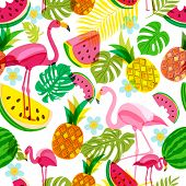 Vector Seamless Tropical Pattern With Pink Flamingo, Palm Leaves, Watermelon And Pineapples. Summer poster