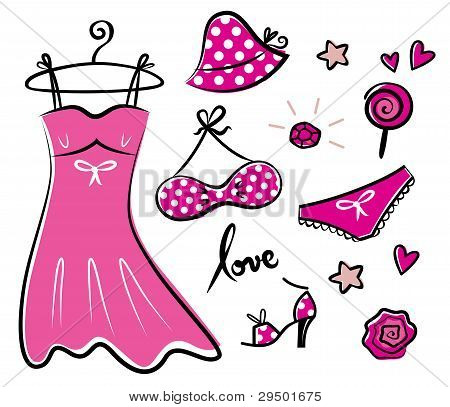 Fashion Retro Pink Icons And Accessories For Romance Girl