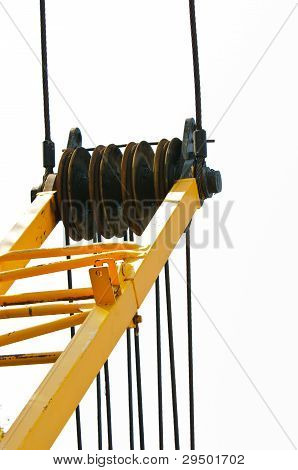 Industrial Crane Against White Isolated Background