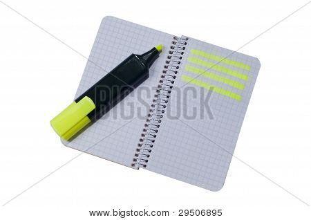 Spiral notepad with path highlighted