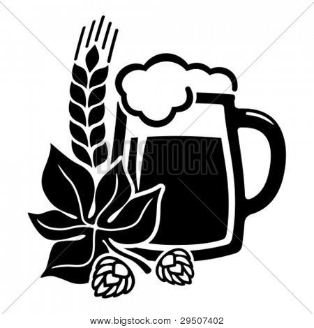 Vector black beer icon with hops. All white areas are cut away from icons and black areas merged.