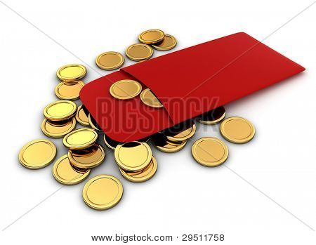 3D Illustration of Chinese New Year Coins
