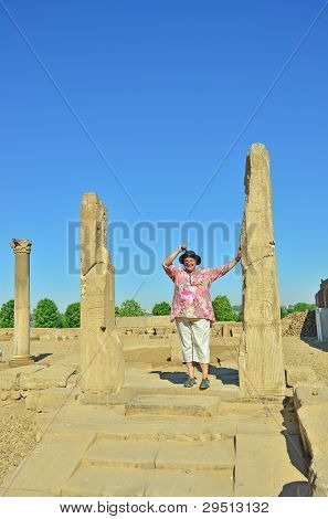 Tourist in Kom Ombo ruins, Egypt