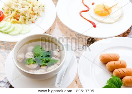 Breakfast - fried rice,soup,toast,egg