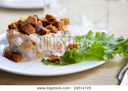 Salad With Toast And Green Leaf Lettuce