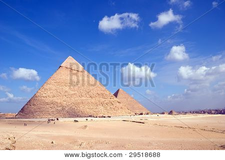 Egypt. Giza. View of the Hefren and Cheops pyramids.