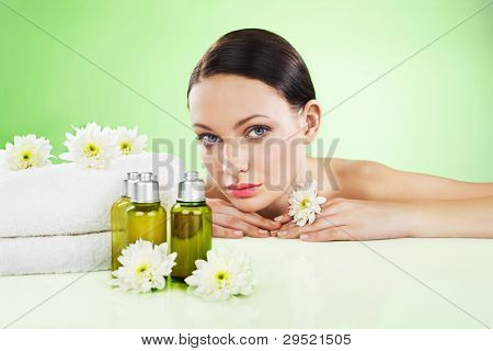 Beautiful woman and organic cosmetic