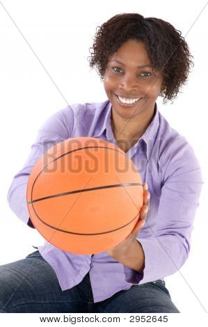 Woman With Balloon Of Basketball