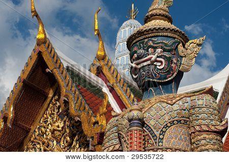 Statue Giant Story Ramayana At Wat Phra Kaew In Bangkok, Thailand .