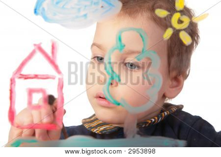 Girl Paints House On Glass