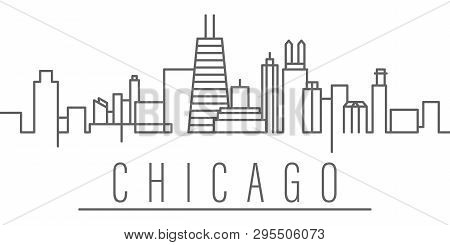 Chicago City Outline Icon Elements