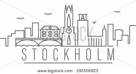 Stockholm City Outline Icon Elements