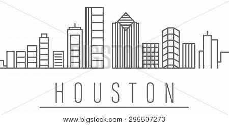 Houston City Outline Icon Elements