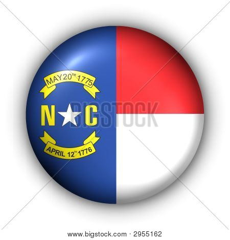 Round Button Usa State Flag Of North Carolina
