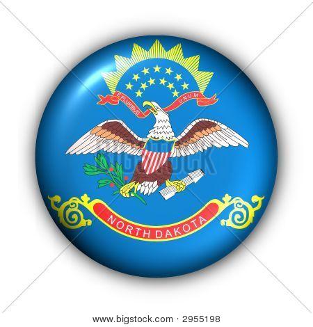 Round Button Usa State Flag Of North Dakota